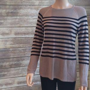 NWT 525 America Tan & Black Striped Knit Top